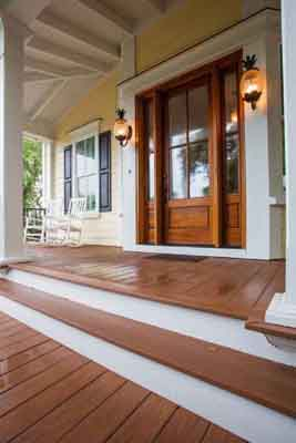 A great option for beachfront homes is Azek Decking on an entry porch.